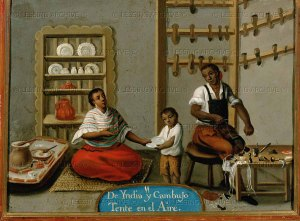 Mixed-race family--child, potter and shoemaker--in 18th century Mexico.