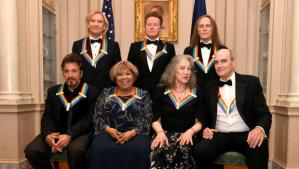 2016 Kennedy Center Honorees pose for a group photo after a gala dinner at the U.S. State Department, in Washington, U.S., December 3, 2016. From L-R: (seated) actor Al Pacino, singer Mavis Staples, pianist Martha Argerich, singer-songwriter James Taylor; (standing) members of rock band Eagles, Joe Walsh, Don Henley and Timothy B. Schmit. REUTERS/Mike Theiler - RTSUJND